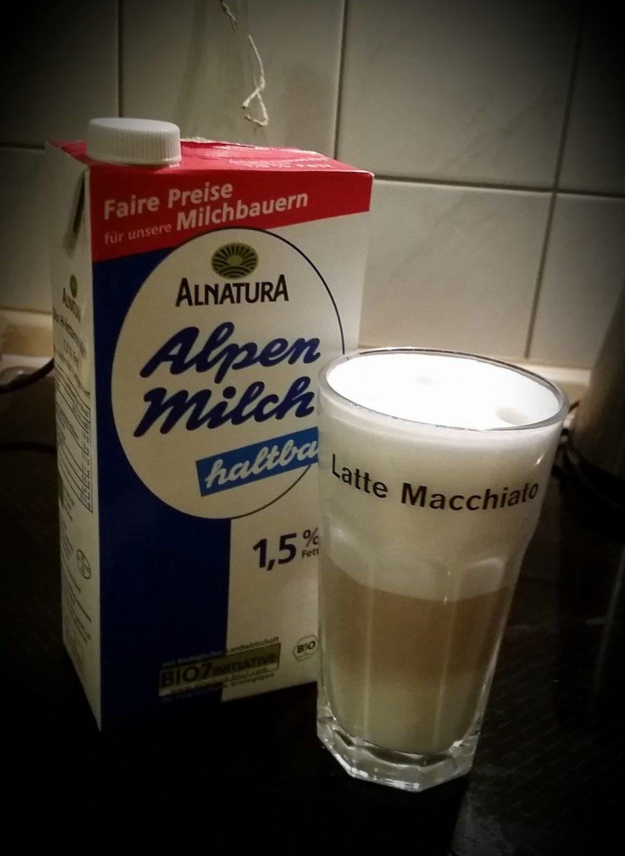 Milchschaum mit 1,5 Prozent Fett Alnatura Milch. Nicht schlecht!