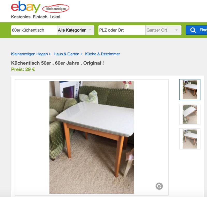 60er Küchentisch - ein gelungener Suchbegriff bei Ebay Kleinanzeigen.