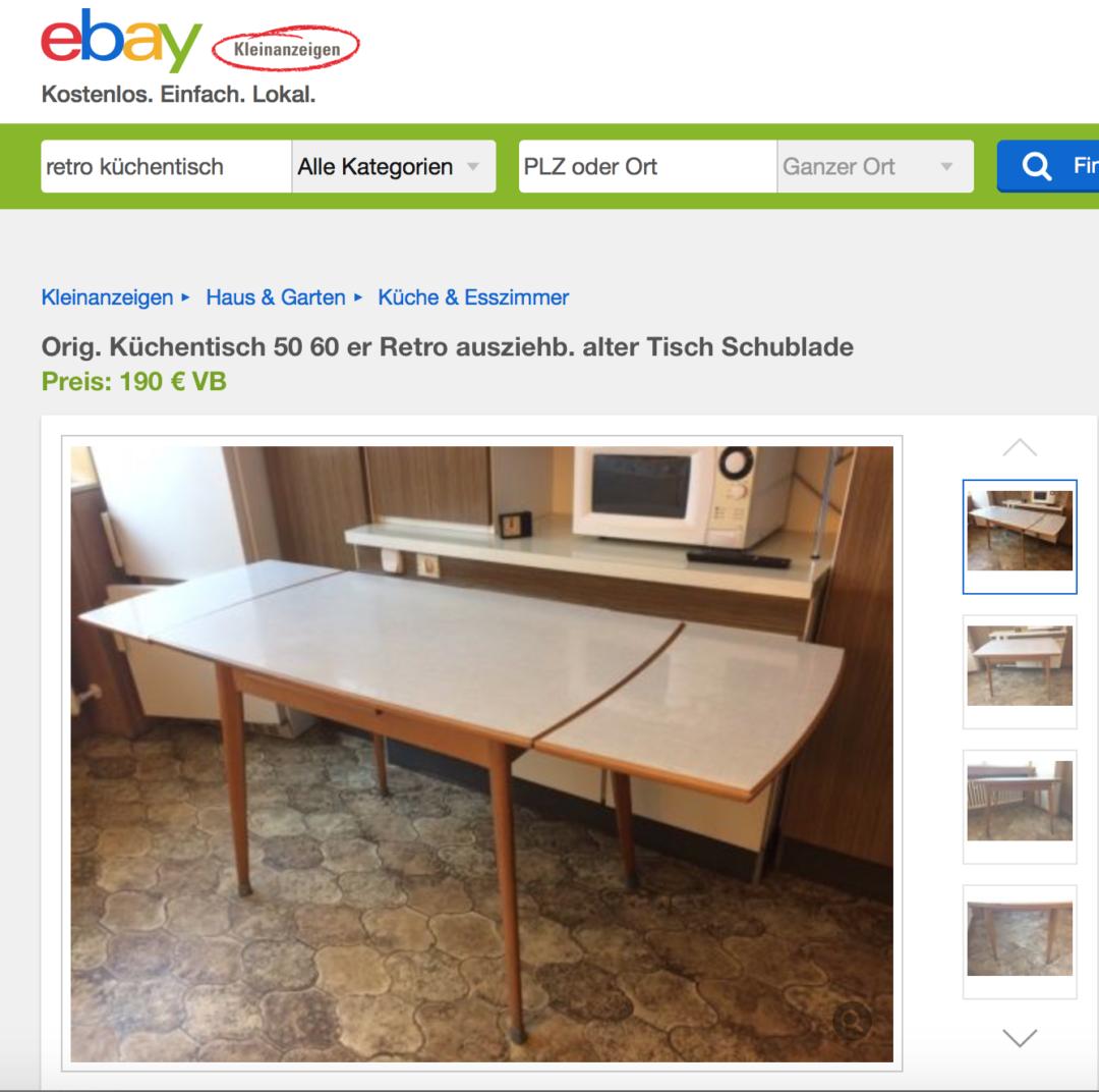 omas 60er k chentisch hat viele preise meine suche bei ebay kleinanzeigen. Black Bedroom Furniture Sets. Home Design Ideas