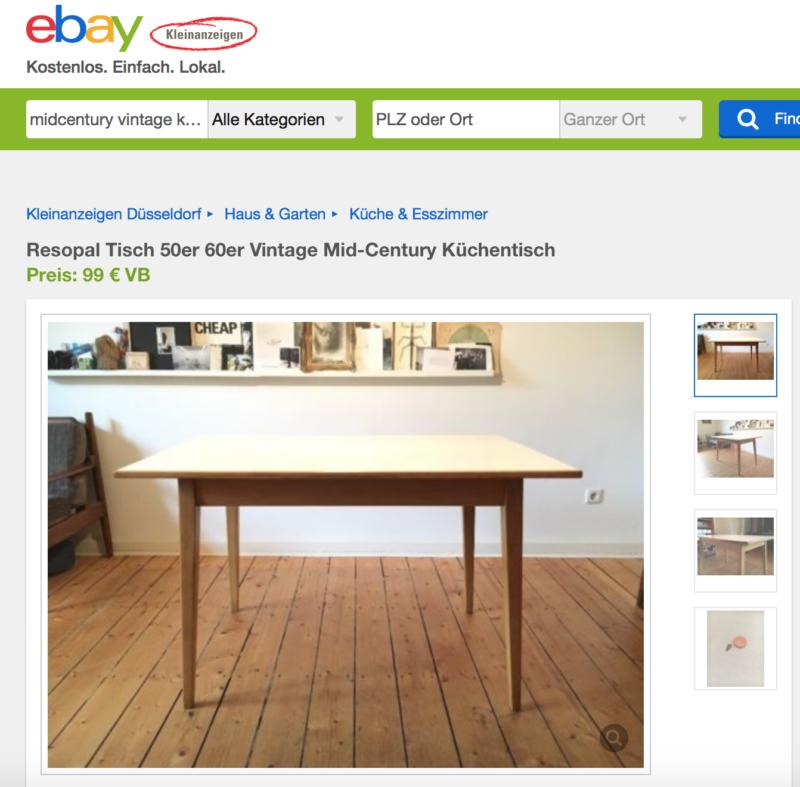 Zu teuer: Der mid-century Vintage Küchentisch aus den 60ern von Ebay Kleinanzeigen.