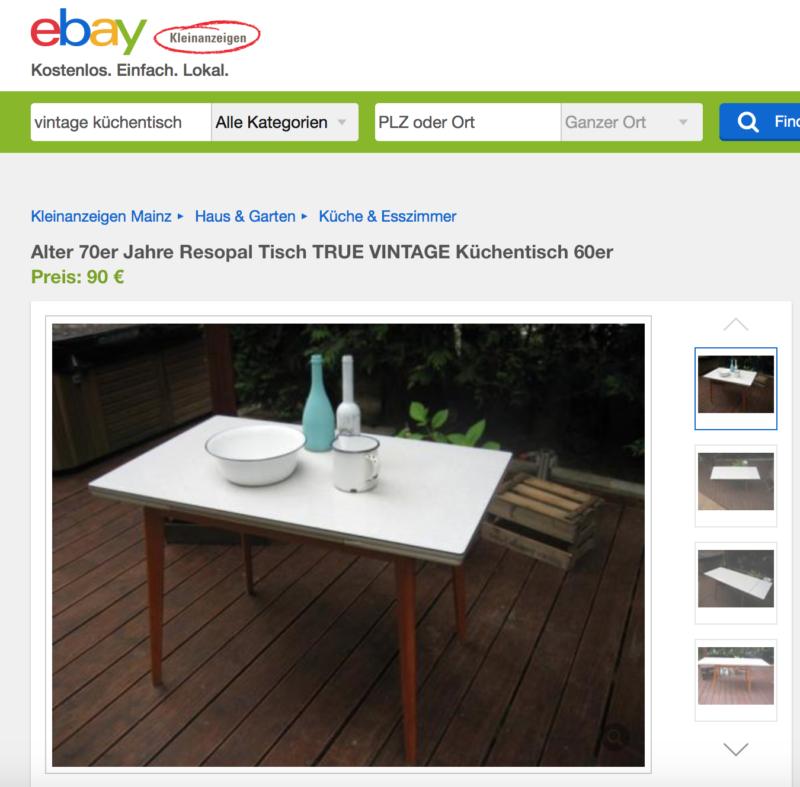 Ebay Kleinanzeigen. Eine Fundgrube für Vintage Küchentische aus den 60ern.